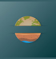 earth icon and soil profile paper art style vector image