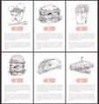 fast food noodles poster set vector image vector image