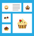 flat cake set of confectionery cake cupcake and vector image vector image