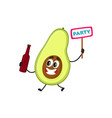flat funny pear fruit character beer party vector image vector image