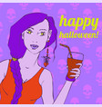girl holding a glass of smoothie with a straw vector image vector image