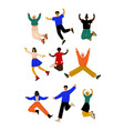 happy people of different nationalities jumping vector image vector image