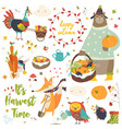 harvesting animals set vector image vector image