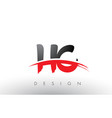 hc h c brush logo letters with red and black vector image vector image