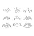 jester fools hat icons set outline style vector image vector image