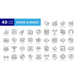 music web icon set - outline icon set thin line vector image vector image