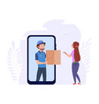 online delivery post man with box woman vector image vector image