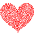 red heart made of gear wheels vector image vector image