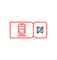 red metro ticket icon with qr code vector image