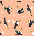 seamless pattern with tropical toucan birds and vector image
