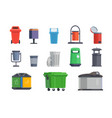 set of garbage cans for home and street vector image vector image