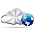Silver Cloud and World Icon vector image vector image