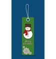 snowman label merry christmas design vector image