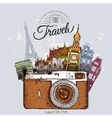 Travel photo background with retro camera vector image vector image