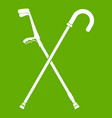 walking cane icon green vector image vector image