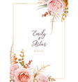 wedding invite card design blush peach flowers vector image vector image