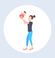 woman lifting up her little bamother and vector image