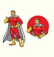 superhero smiling with thumb up in set vector image