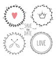 Romantic set of hand drawn wreaths vector image