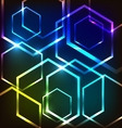 Abstract colorful glowing background with hexagons vector image vector image
