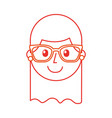 Cartoon happy young girl with glasses teacher day