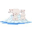 cartoon polar bears family on icebergs vector image vector image