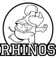 cartoon rhino playing footbal logo vector image vector image