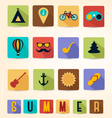 Colorful Retro Summer Icons with Long Flat Shadow vector image