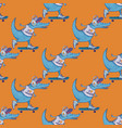 crocodile on skateboard seamless pattern vector image