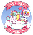 cute unicorn thank you 1000 followers vector image