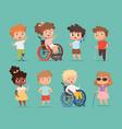 disability children kids sitting in wheelchairs vector image