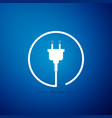 electric plug icon isolated on blue background vector image vector image