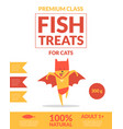 fish treats for cats banner template pets food vector image vector image