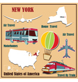 Flat map of New York vector image vector image