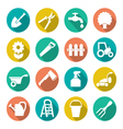 Garden icons in flat style vector image vector image
