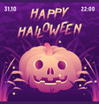 halloween square party poster with spooky text vector image vector image