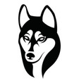 husky logo portrait a husky black and white vector image vector image