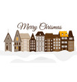 merry christmas urban snowy city building vector image