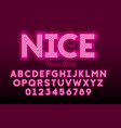 neon style modern font alphabet and numbers vector image vector image