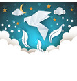 origami dove cartoon paper sky vector image