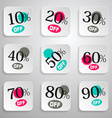 Paper Rounded Squares Discount Sale Splashes Set vector image vector image