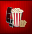 popcorn film strip and tickets vector image