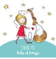 postcard with cute girl hugging unicorn vector image