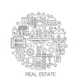 real estate in circle - concept line vector image vector image