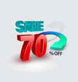 sale banner 70 percent 3d style vector image vector image
