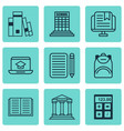 set of 9 school icons includes college home work vector image vector image