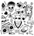 set rap music icons black isolated hip hop vector image vector image