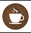 simple round icon of coffee cup with drop shadow vector image vector image