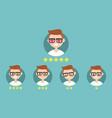 star rating system set emotional portraits vector image