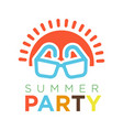 summer party logotype with red sun and sunglasses vector image